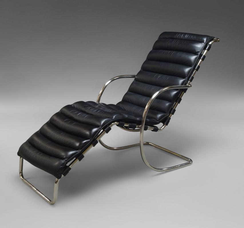 Lot 93 Of 196 Ludwig Mies Van Der Rohe An MR Chaise Longue Designed C1927 The Tubular Steel Frame With Black Leather Seat This Example Recent