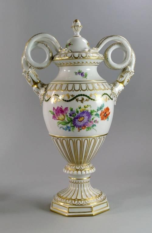 A Dresden Twin Handled Vase And Cover Early 20th Century The