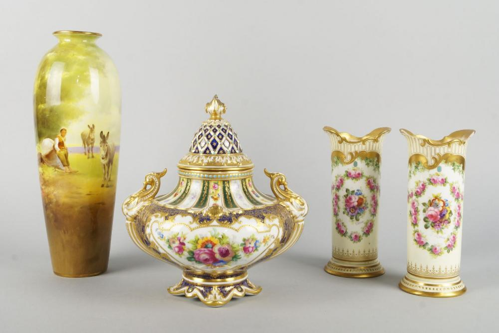 A Royal Doulton Vase And Cover 20th Century In The Sevres Taste