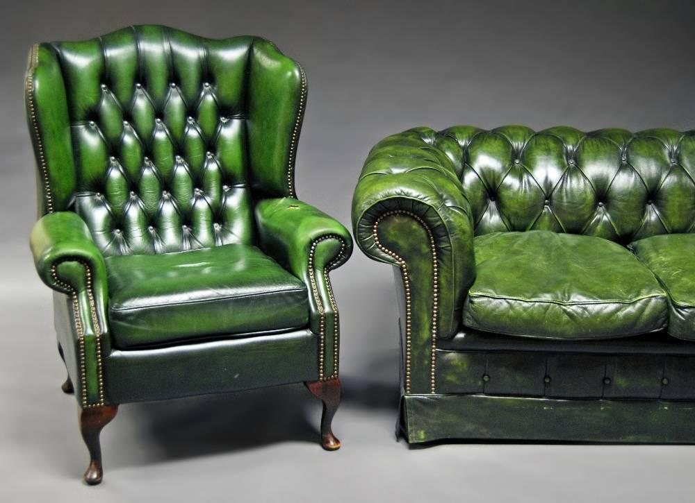 Beautiful Lot 1258 Of 1150: A Green Leather Chesterfield Sofa, 20th Century, Button  Back, Raised On Castors, 74 Cm High, 210 Cm Wide, 102 Cm Deep; Together  With ...