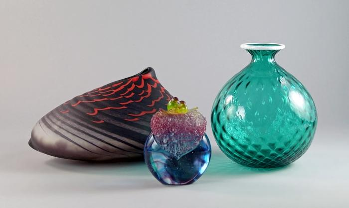 A Venini Glass Vase The Transparent Green Glass With Cross Hatched