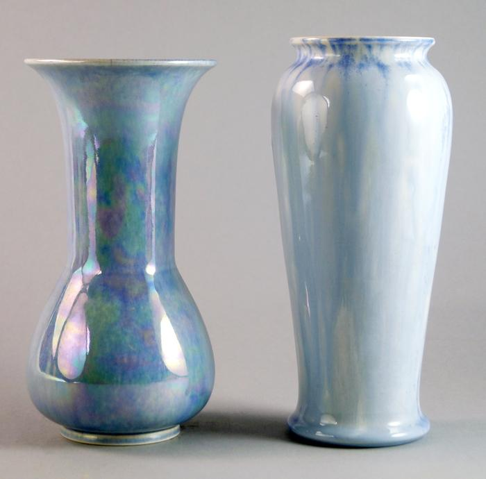 Two Ruskin Pottery Light Blue Lustre Pottery Vases Early 20th