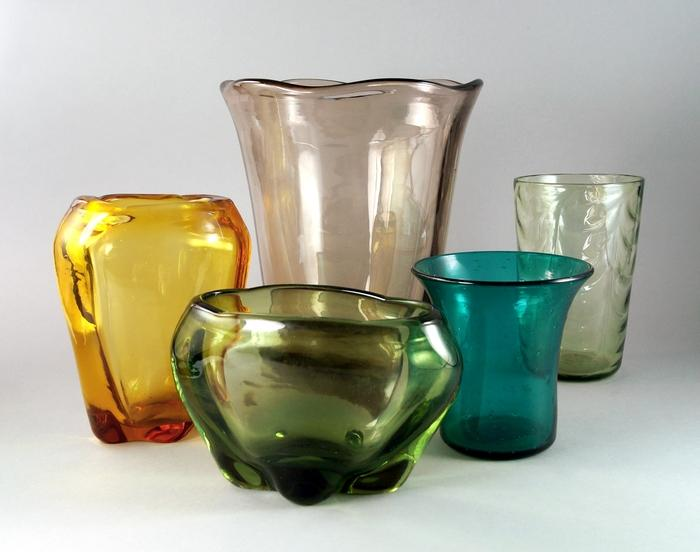 A Collection Of Whitefriars Glass Vases And Others Mid 20th Century