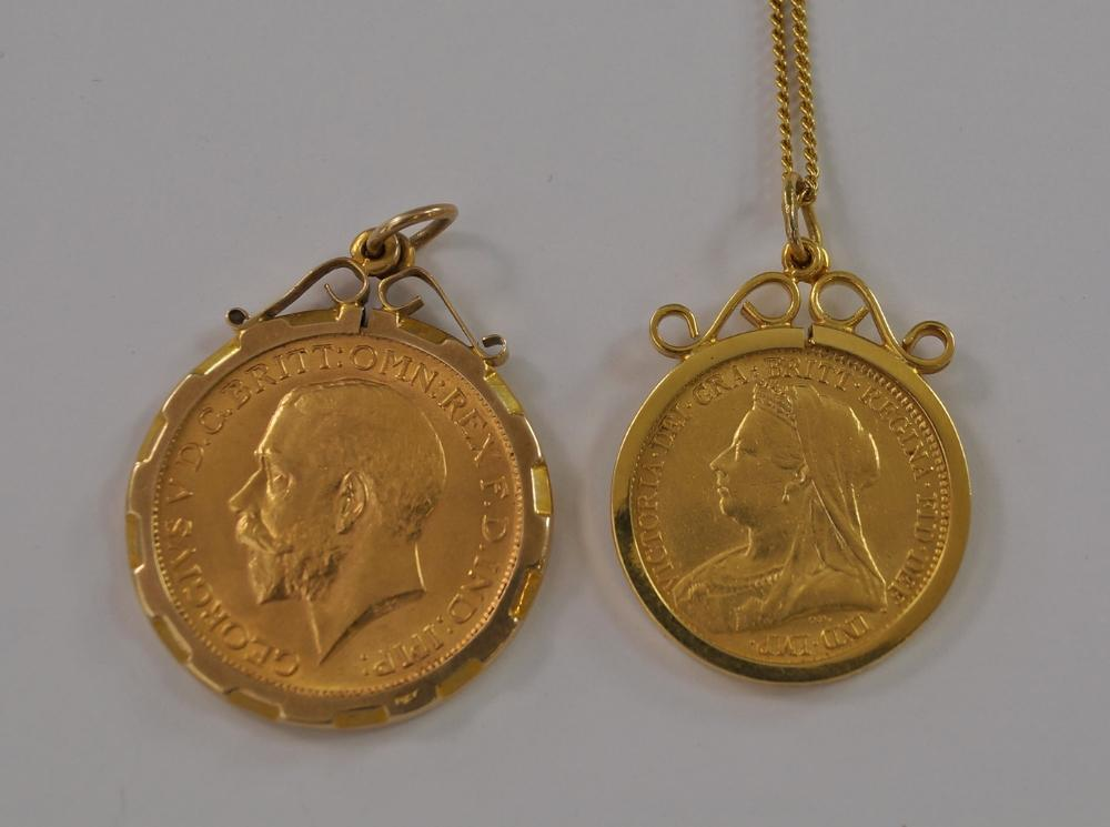 A george v gold sovereign 1912 in 9ct gold pendant mount lot 221 of 1420 a george v gold sovereign 1912 in 9ct gold pendant mount together with a victorian gold half sovereign 1893 in 9ct gold pendant mount aloadofball Images