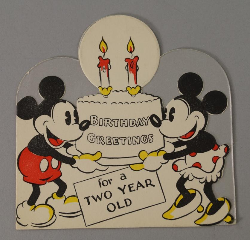 An Early Walt Disney Birthday Card Depicting Mickey And Minnie
