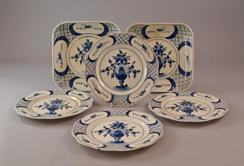 Lot 40 of 1231 A collection of blue and white Delft ware late 19th / early 20th Century to include smaller dinner plates diameter 22cm (10) and serving ... & A collection of blue and white Delft ware late 19th / early 20th ...