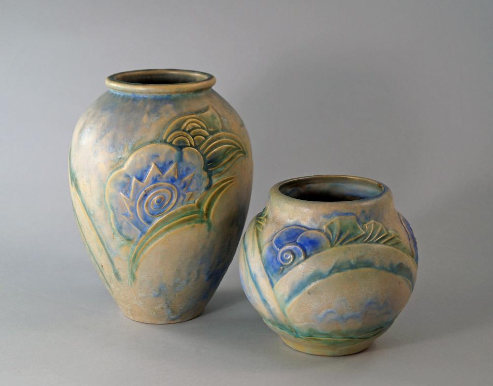 Two Denby Danesbury Ware Vases Printed Marks To Base 26 Cm And