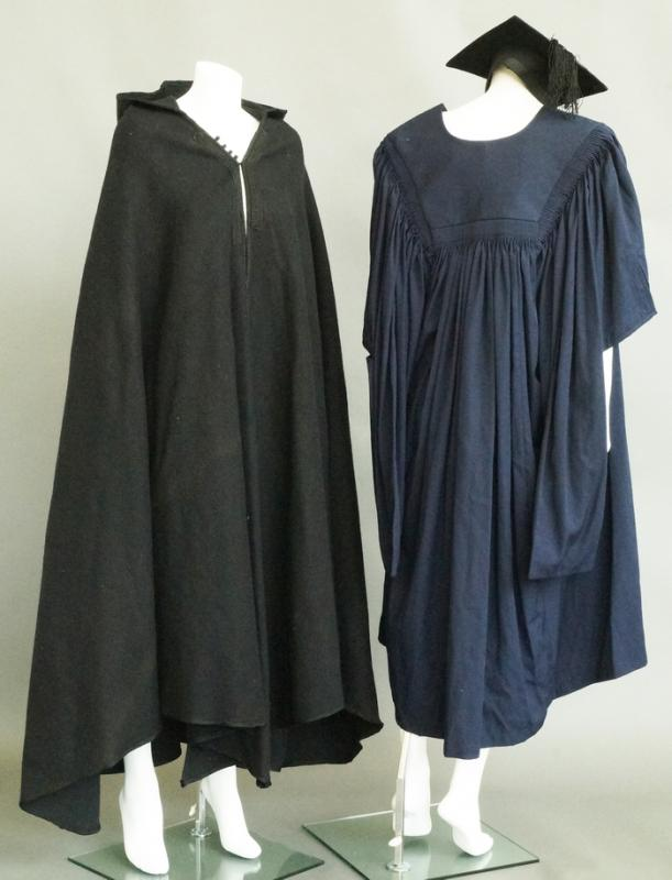 An Ede and Ravenscroft navy blue graduation gown with black mortar ...