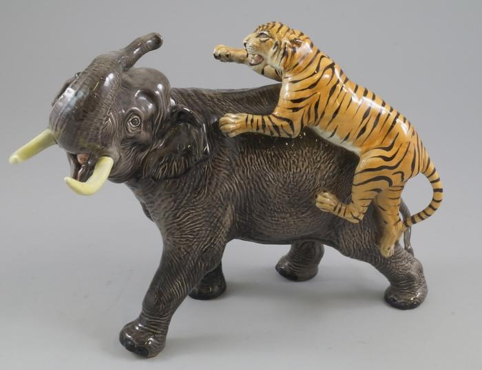 A Large Beswick Elephant And Tiger Group Designed By