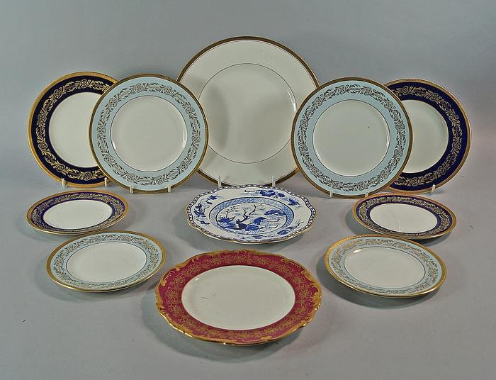 a collection of coalport porcelain dinner services to comprise six