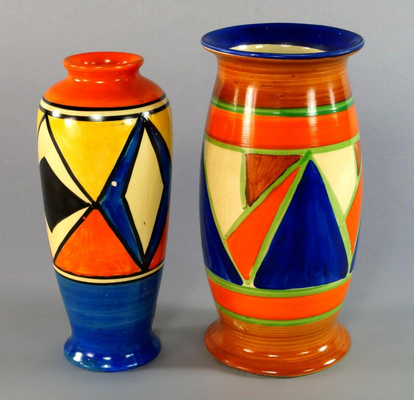 A Clarice Cliff Bizarre Geometric Pattern Vase Shape 264 Coloured