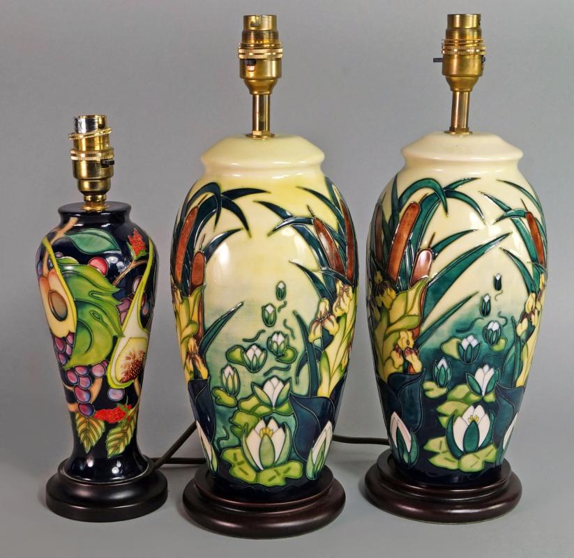 Two moorcroft table lamps both lamia pattern on wooden bases lot 162 of 404 two moorcroft table lamps both lamia pattern on wooden bases approx 29cm high approx 37cm high overall including base and bulb holder aloadofball Images