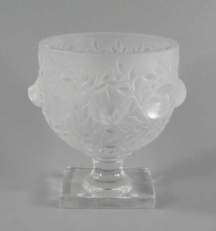A Lalique Elizabeth Vase Frosted And Clear Glass With Birds Around
